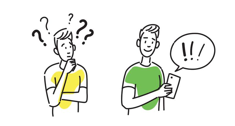 Illustratie Jonge mannen die een idee opdoen