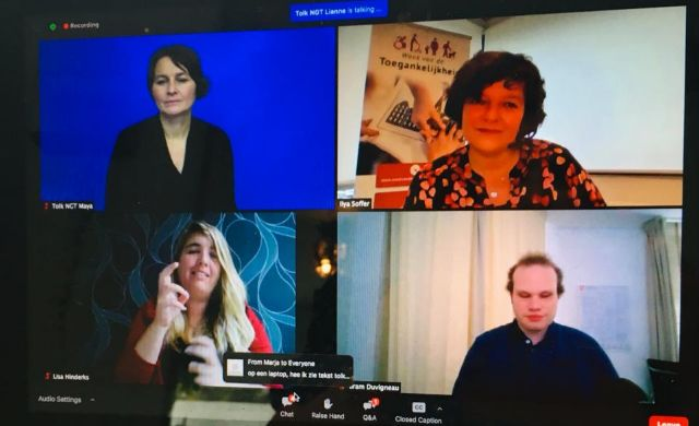 talkshowdeelnemers en gebarentolk op scherm laptop